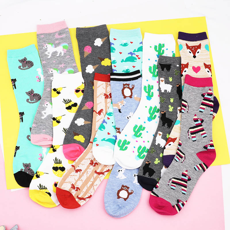 women girl Casual cotton Happy   Socks   rainbows harajuku hip hop beaches Funny Colorful Flowers Funny Gift