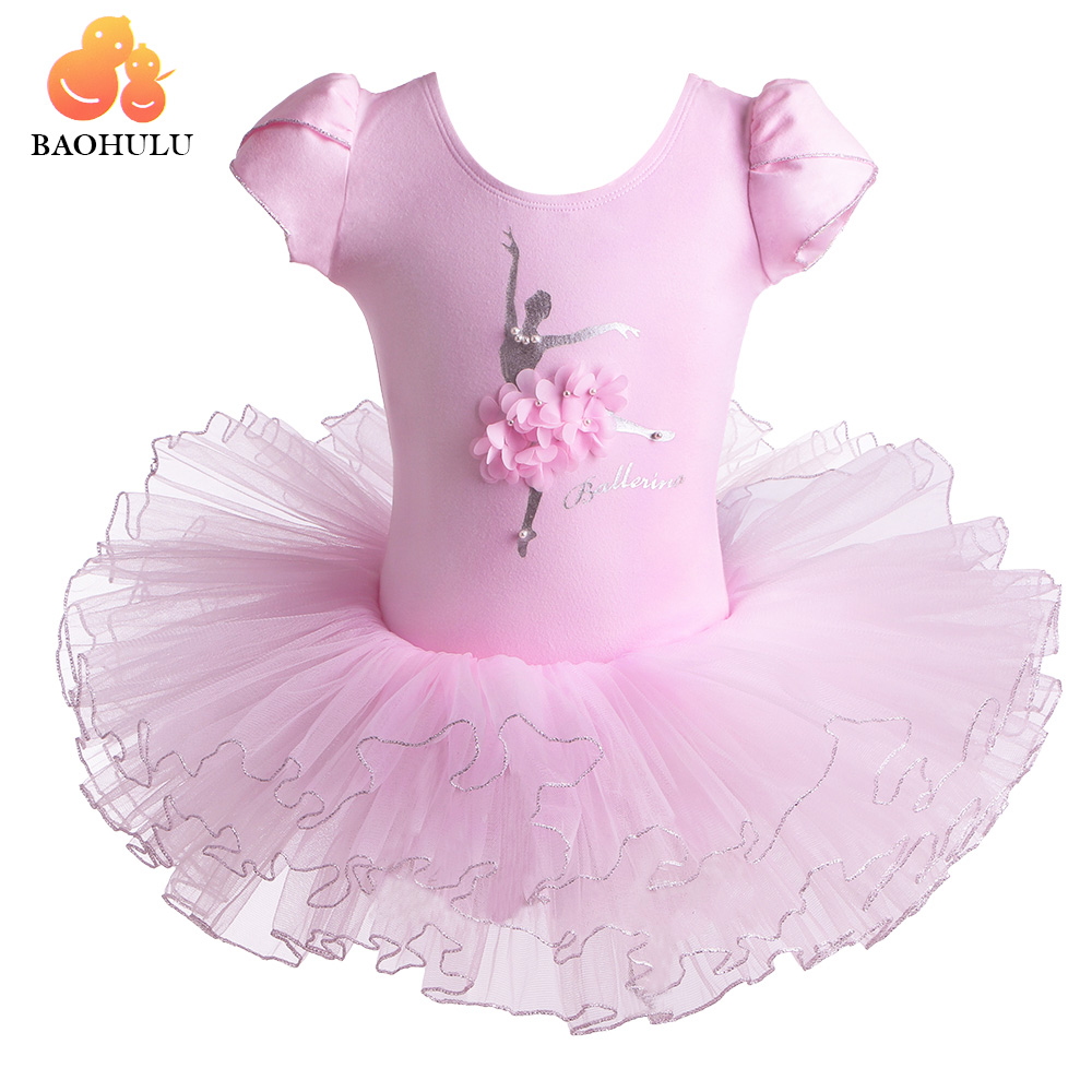 BAOHULU Short Sleeve Children Ballet Dress Pearl Flower Dance Leotard Girl Ballerina Costume Ballet Tutu Kids Girls Clothes