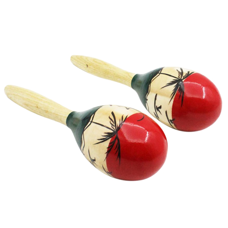 1 Pair Of Wooden Large Maracas Rumba Shakers Rattles Sand Hammer Percussion Instrument Musical Toy For Kid Children Party Games