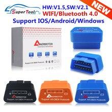 Obd2 elm327 v1.5 wifi elm327 v1.5 bluetooth 3.0/4.0 scanner automático elm 327 v1.5/1.5 wi-fi/bluetooth 4.0 suporte para android/ios/pc
