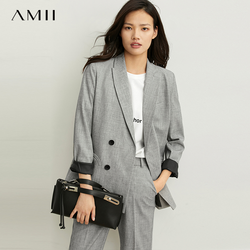 Amii's Minimal And Skillful Commuter Fashion Suit Nine-Pants For Women Spring New Double-breasted Grey Fashion Suit 11920168