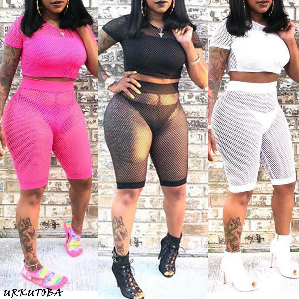 2020 Elegant Women Summer 2 Piece Hollow Mesh Crop Top Shorts Cover-Ups Fish Net Mesh See Through Sexy Beachwear Cover Up Sets