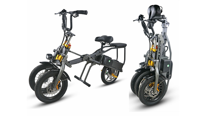 JX003 3 Wheel Electric Scooter E Bike Bicycle foldable High Speed Electric Tricycle with 2 pcs battery 350W Powerful  for Adult 1