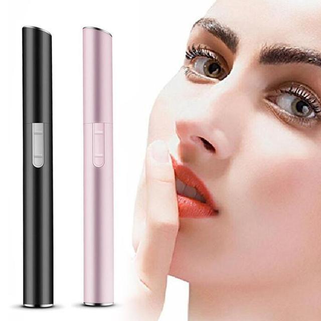 Pink Color Practical Electric Face Eyebrow Scissors Hair Trimmer Mini Portable Women Body Shaver Remover Blade Razor Epilator 2