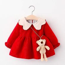 Dress Long-Sleeve Princess Party Baby-Girl Bag Kid Corduroy Autumn Solid Suit Lapel-Collar