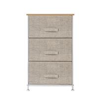 3 Tier Dresser Drawer Non woven Drawer Rack Storage Unit Metal Frame Wooden Tabletop Shelf Storage Organizer for Home