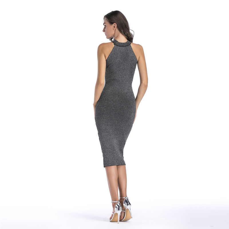 Сексуальное женское платье без рукавов, трикотажные платья 2020, женское Хлопковое платье на бретельках с круглым вырезом, офисное платье карандаш
