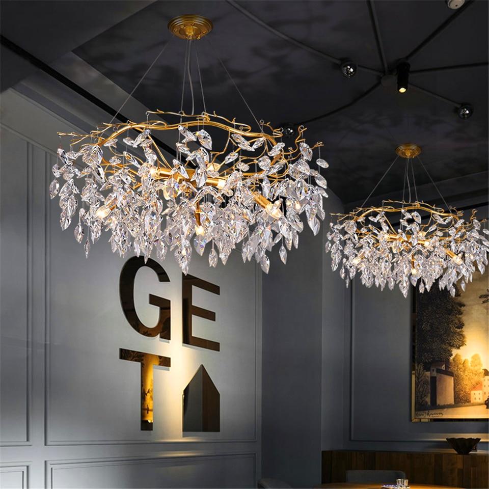 Image 4 - Nordic Luxury Gold Crystal Chandelier Lighting Modern Large Lustre Hanging Lamp for Living Room Hotel Hall Art Decor LightingChandeliers   -