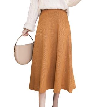 JUAYKALA Knit Skirt Skirt Autumn And Winter Skirt A Word Skirt High Waist Bottom Skirt Was Thin Female фото