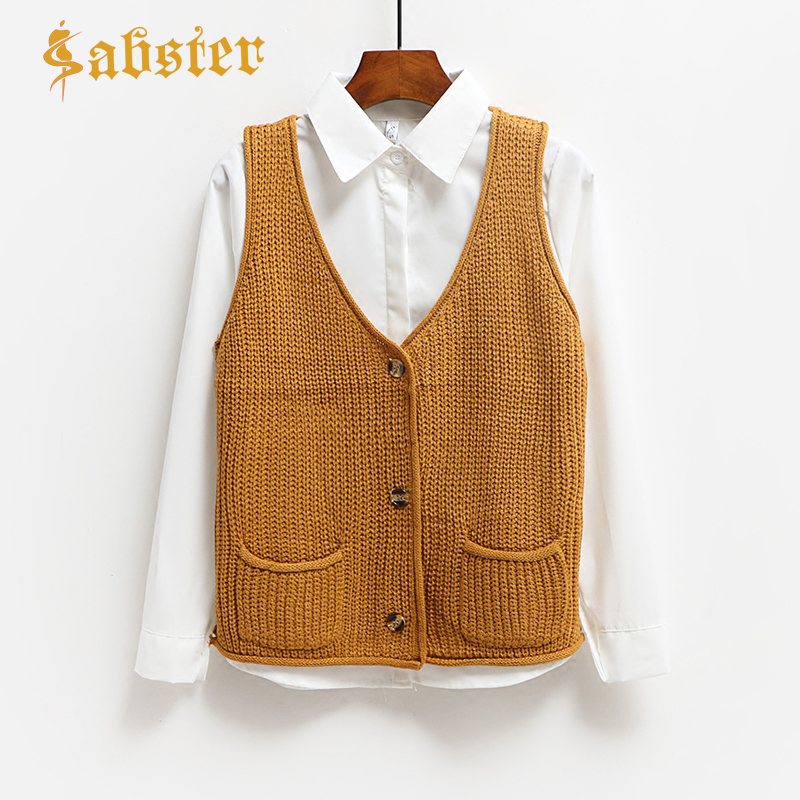 Women Spring Autum Knitted Cardigan Tops 2019 New Women Sweaters Sleeveless Vests Casual Ladies Cardigan XZ561