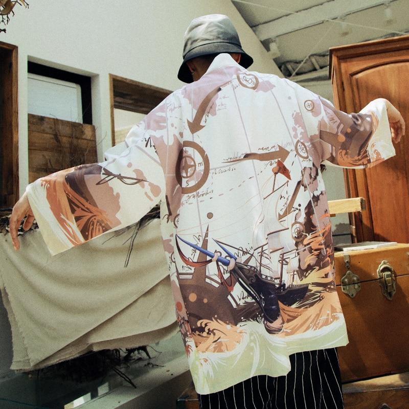 2019 Kimono Cardigan Men Japanese Yukata Japan Kimono Japanese Haori Samurai Clothing Floral Print Japanese Streetwear Jacket