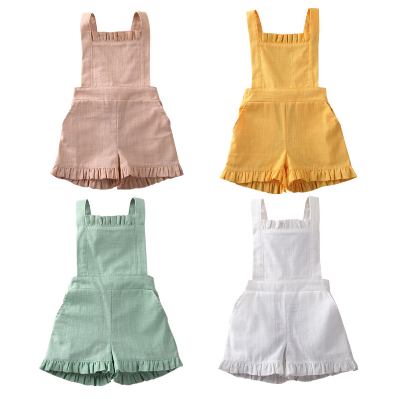 Toddler Baby Kids Boysc Girls Summer Rompers Sleeveless O-neck Backless Rompers Jumpsuits Ruffles Pants One-pieces Casual Outfit