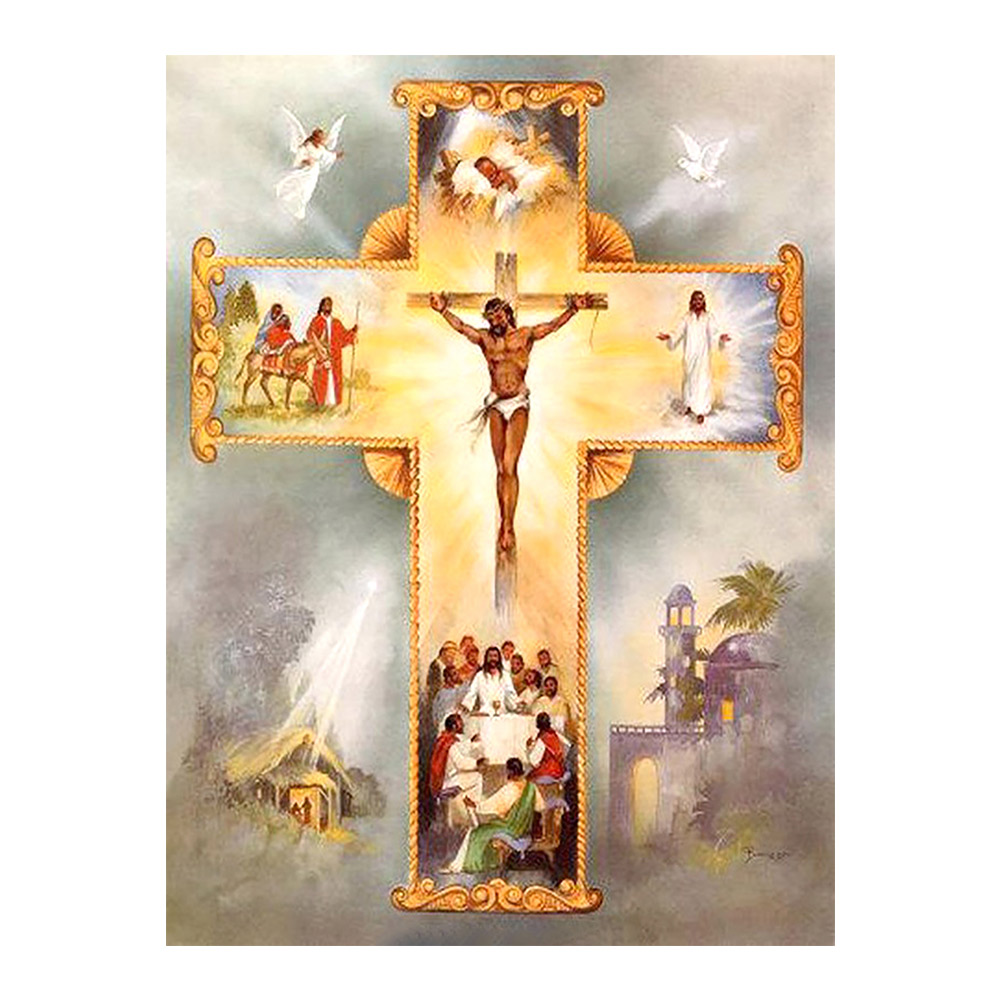 religious cross Moge Diamond Painting Full Round portrait christ New DIY sticking drill stitch 5D embroidery decorative