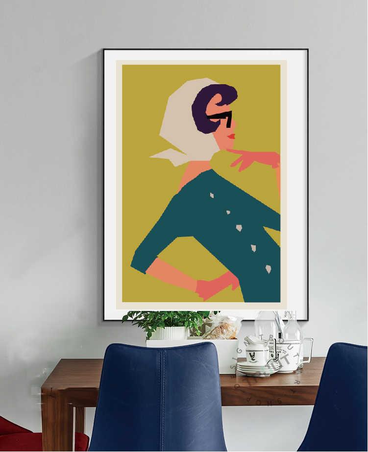 Impresiones de moda Vogue mujer pintura de arte de pared y minimalista vintage, con impresiones geométricas póster en lienzo cuadro decoración para el hogar
