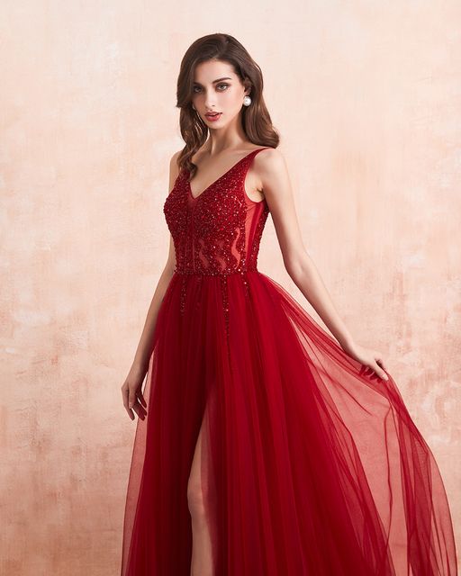 Beading Prom Dresses 2021 Long Sexy V-Neck High Split Tulle Sweep Train Sleeveless Evening Gown A-Line Backless Vestido De 4