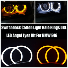 Car-styling  4x146mm White & yellow Halo Cotton Light car smd LED Angel eyes for BMW E46 non Projector Auto Lighting