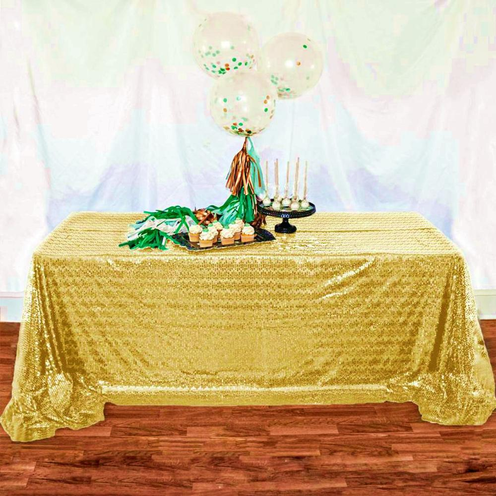 90x120 Inch Rectangle Sequin Tablecloth Shiny Gold Sequin Fabric Tablecloth Gold Glitter Tablecloth for Wedding/Party/Birthday