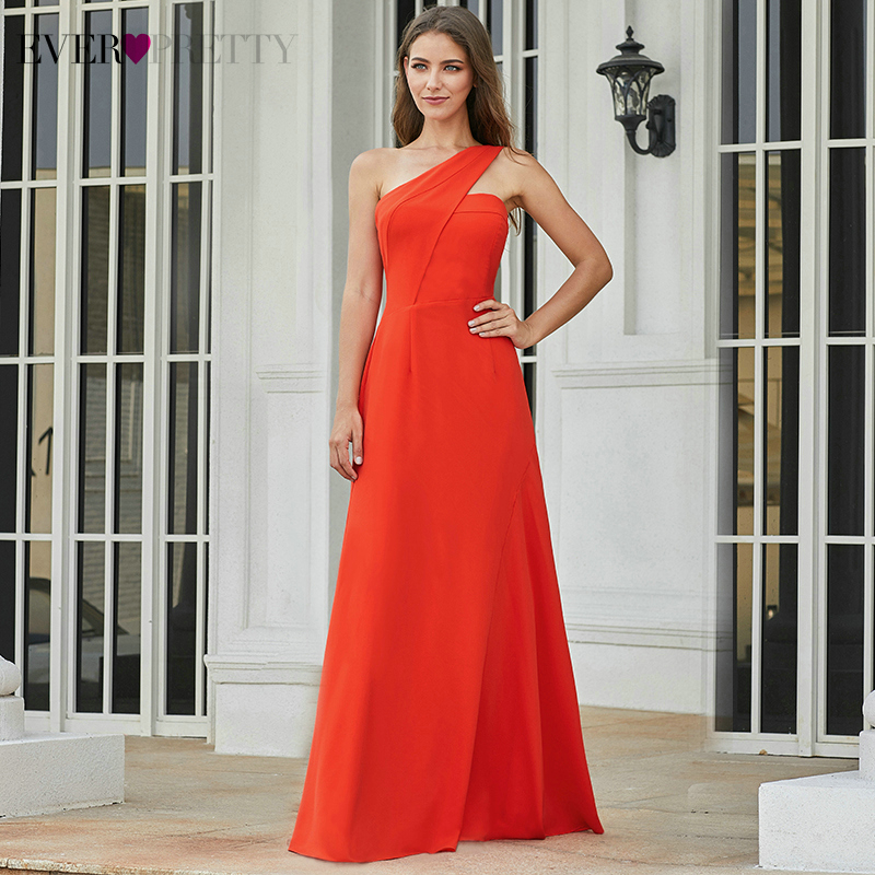 Sexy Evening Dresses Long Ever Pretty EP07246OR A-Line Ruched One Shoulder Darped Sleeveless Evening Party Gowns Abendkleider