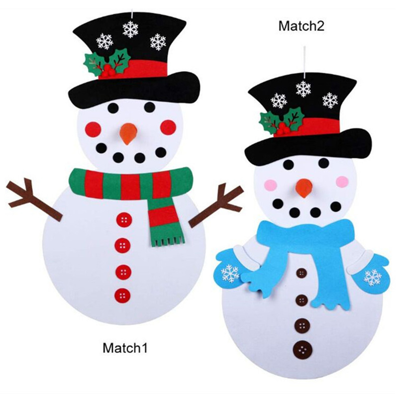 Christmas DIY Felt Christmas Cartoon Set With Stick-on Door Wall Hanging Decoration Xmas Gift Kids Puzzle Toy