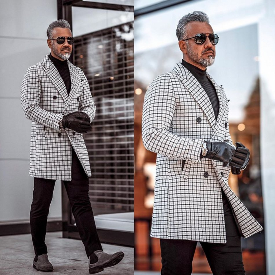 2020 Fashionable Mens Suits Polyester Blend Shawl Lapel Traje Hombre Long Plaid Suit Custom Made