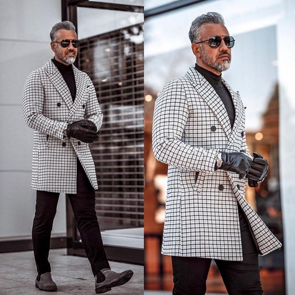 2020 Fashionable Mens Suits Polyester Blend Shawl Lapel Traje Hombre Long Plaid Suit Custom Made