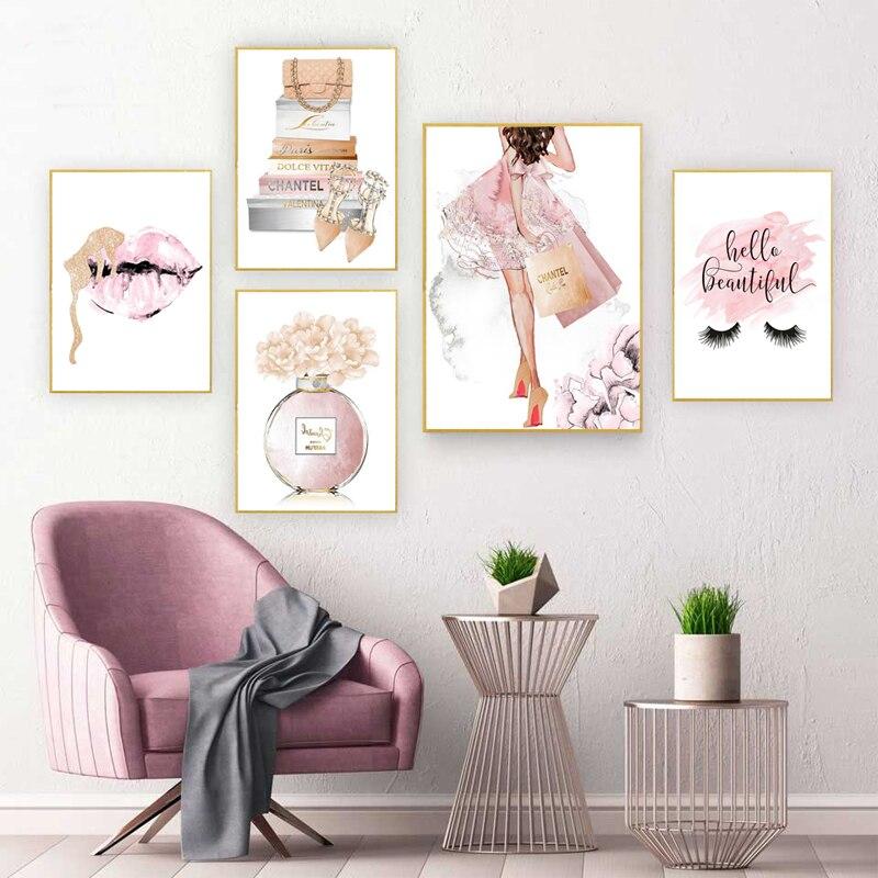 Настенные постеры для украшения дома картины на холсте Nordic художественной росписи Peinture розовый средства ухода за губами ресниц духи модные настенные принты