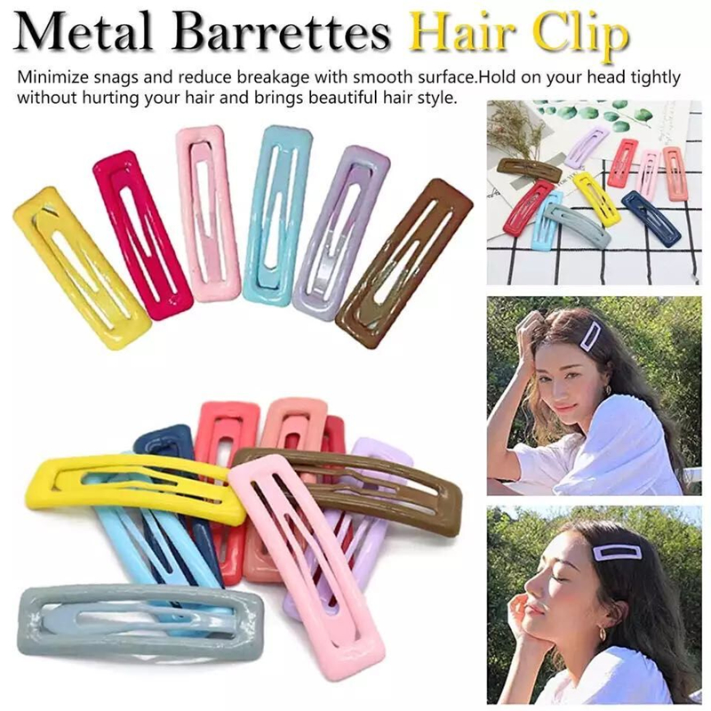 Metal Candy Color Square Hair Clips Hair Accessories Head wear Alloy Barrettes