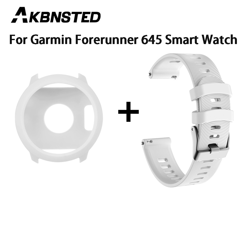 AKBNSTED Soft Silicone Replacement <font><b>Case</b></font> Cover + Silicone Watch Band Strap For <font><b>Garmin</b></font> <font><b>Forerunner</b></font> <font><b>645</b></font>/<font><b>645</b></font> Music Smart Watch image