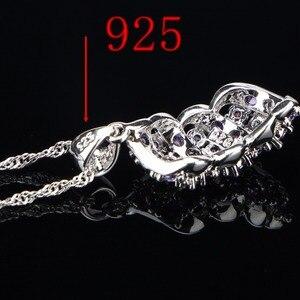 Image 5 - Conjunto de joyería nupcial de plata de circonia púrpura 925, pulseras, pendientes de las mujeres de piedras para COLLAR COLGANTE, anillos, caja de regalo