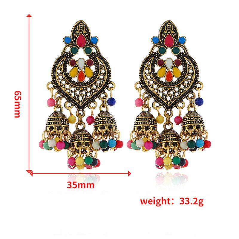 Retro Indian Bollywood Kundan Jhumka Jhumki Drop Earrings Gypsy Fashion Jewelry in Drop Earrings from Jewelry Accessories