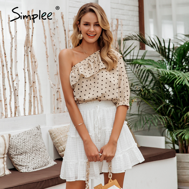 Simplee Sexy Skew Collar Ruffle Women Blouse Shirt Spring Summer Polka Dot Half Sleeve Crop Tops Ladies Chiffon Holiday Shirt