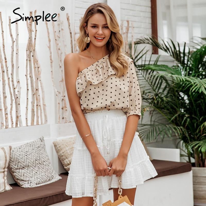 Simplee Sexy Skew Collar Ruffle Women Blouse Shirt Spring Summer Polka Dot Half Sleeve Crop Tops Ladies Chiffon Holiday Shirt