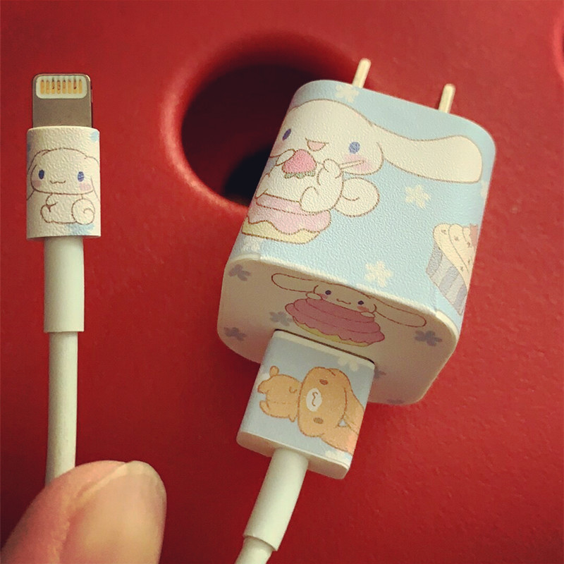 3Pcs/lot Cartoon USB Mobile Data Cable Winder Cartoon Stickers USB Charger Cable Cord Protector Stickers