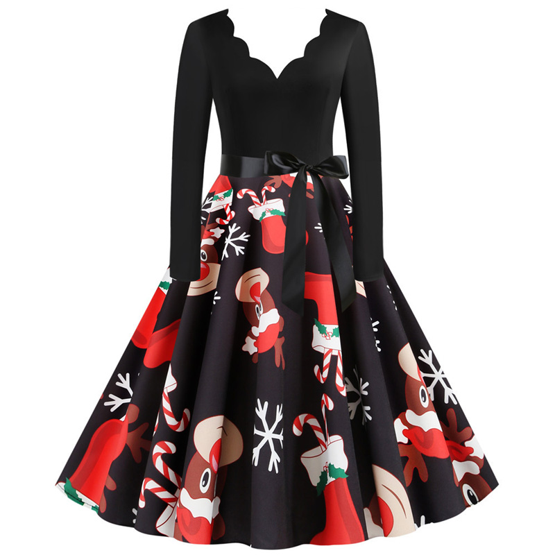Elegant Winter Christmas Dresses Women Deep V-neck Vintage Swing Pinup Sexy Party Dress Long Sleeve Casual Plus Size Print Black