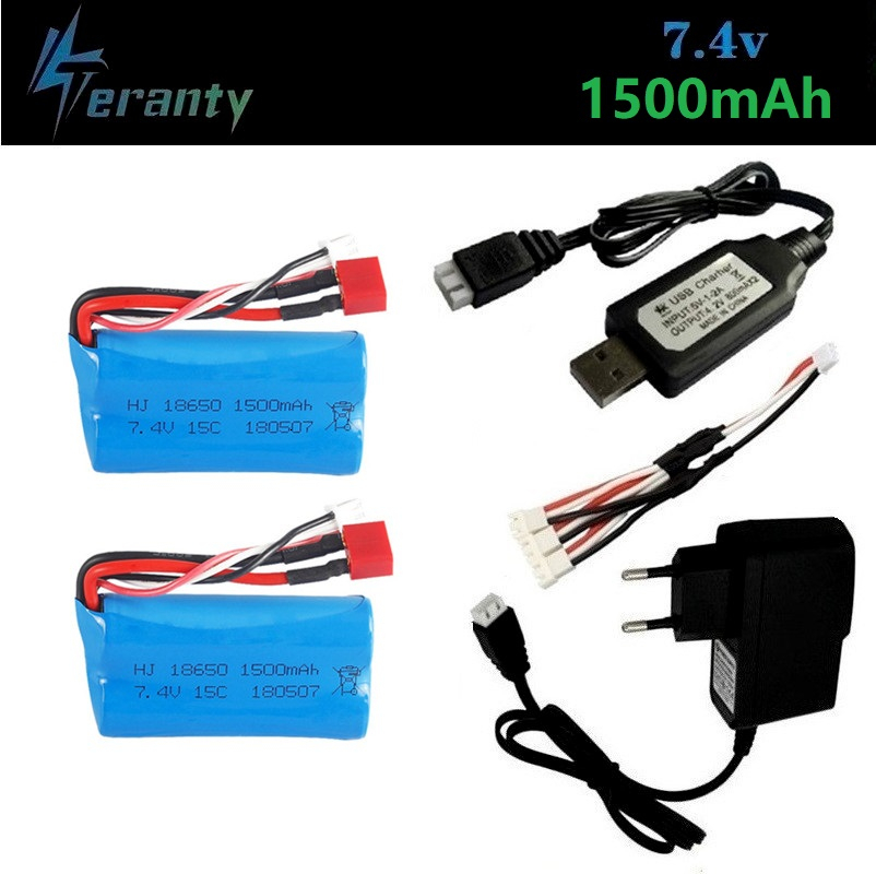 ( T Plug ) <font><b>7.4V</b></font> <font><b>1500mAh</b></font> lipo <font><b>Battery</b></font> <font><b>charger</b></font> set for Wltoys 12428 12401 12402 12403 12404 12423 FY-03 FY01 FY02 Rc toys <font><b>battery</b></font> image