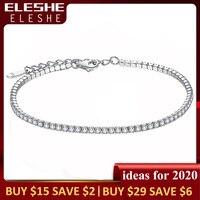 Женские теннисные браслеты ELESHE, браслеты из стерлингового серебра 925 пробы с кубическим цирконием, цепочка из гипоаллергенного серебра, юве...