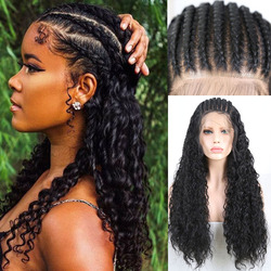 RONGDUOYI Long Braided Box Braids Wig Black Hair Synthetic Lace Front Wigs for Women Heat Resistant Fiber Hair Front Lace Wig