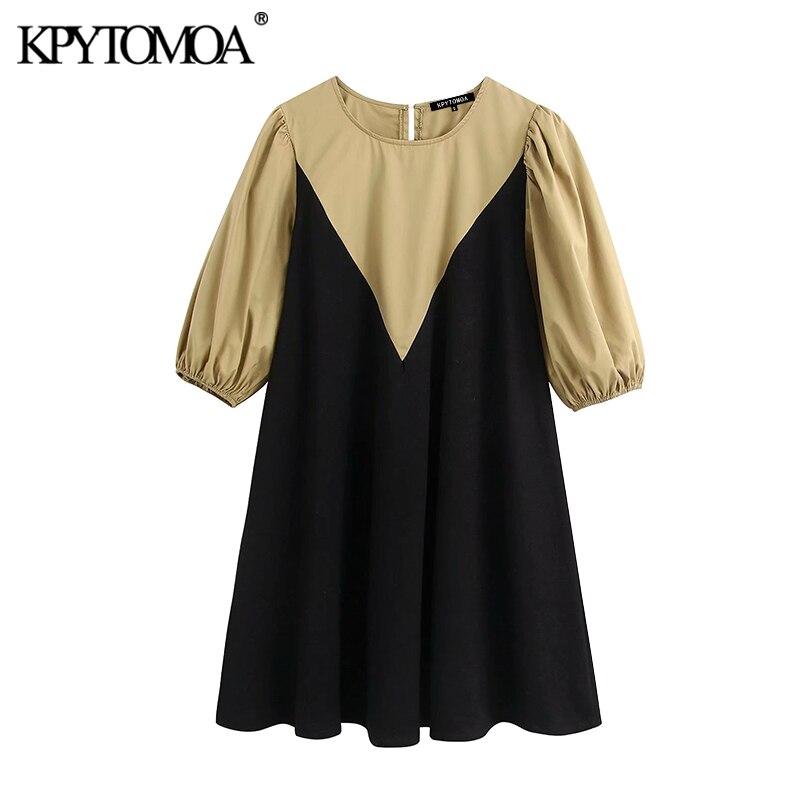 KPYTOMOA 여성 2020 세련된 패션 패치 워크 미니 드레스 빈티지 O 넥 퍼프 슬리브 여성 드레스 캐주얼 Vestidos Mujer