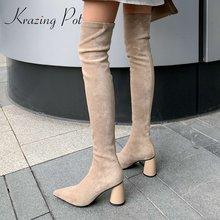 Сапоги krazing pot из флока с острым носком на высоком каблуке