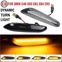 Luz de seta com lentes fumê e fluxo de iluminação dinâmica, com 2 pçs, pisca alerta LED para BMW E60, E61, E90, E91, E81, E82, E88, E46, X3, e X1, lâmpada de pisca lateral