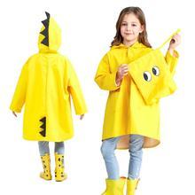 1PC חמוד קטן דינוזאור עמיד למים פוליאסטר גשם מעיל ילד ילדי בנות Windproof פונצ ו בגן תינוק מעיל גשם