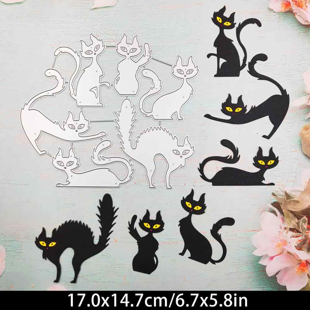 Cute Cat Metal Cutting Dies Stencil DIY Scrapbooking Album Stamp Decor DIY