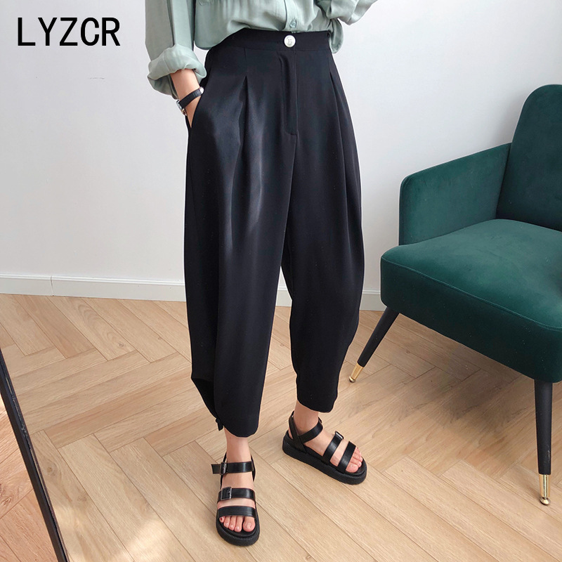 Wide Leg Loose Pants Female Trousers Spring Stright Harem Pants Women White High Waist Pants For Women Office Trousers 2020
