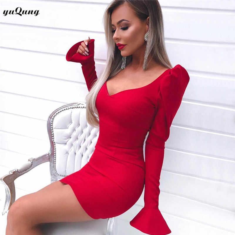 Yuqung винтажное женское мини-платье с v-образным вырезом красное женское сексуальное длинное облегающее платье принцессы с расклешенными рукавами облегающее короткое платье черного цвета