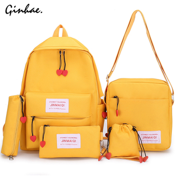 5 Piece Set Women Canvas Backpack Korean Solid Schoolbag For Teenagers Girls Childern Fashion Cute Letter Love Heart Bagpack