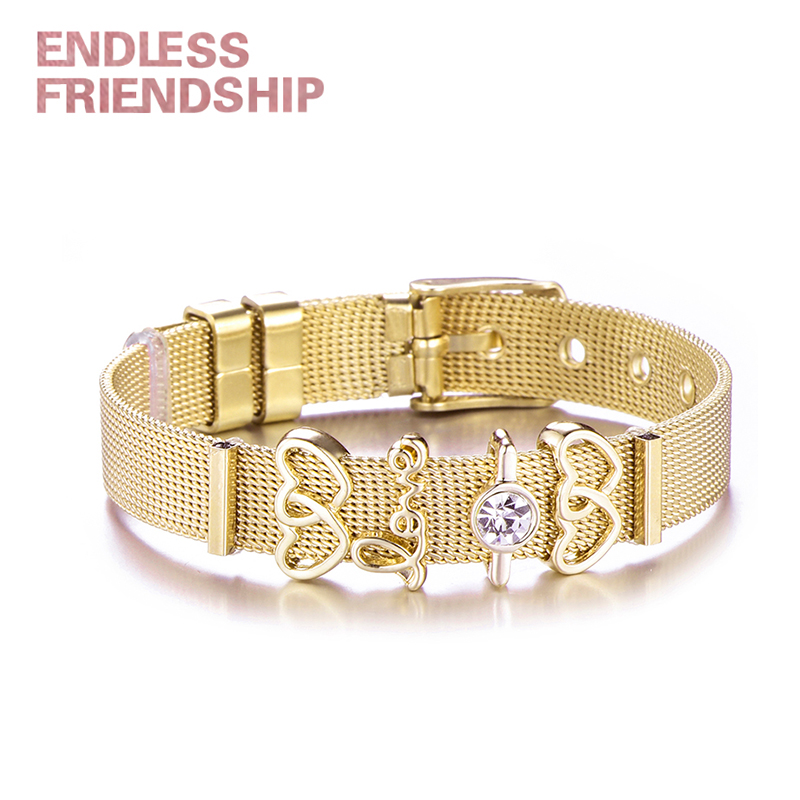 Endless Friendship Fashion Women Bracelet Stainless Steel Mesh Charm Bracelets Double Heart Beads For Woman DIY Jewelry Dropship
