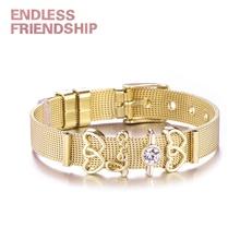 Endless Friendship Fashion Women Bracelet Stainless Steel Mesh Charm Bracelets Double Heart Beads For Woman DIY Jewelry Dropship
