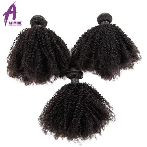 Extensões de Cabelo Alimice Cabelo Mongolian Afro Kinky Curly Weave Pacotes 3 8-26 Polegada Lidar 100% Humano Remy Tece