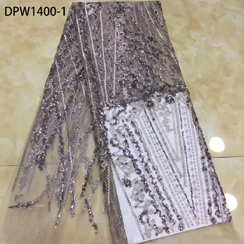 Fashion French Lace Fabric High Quality Tulle Mesh Embroidered with Sequins African Lace Fabric for Wedding Party Dress DPW1400