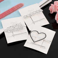 2pcs Rhinestone Hair Clip Set Silver Bobby Pins Crystal Hair Accessories for Women Girls Bow Knot Flower Heart Hairpin Barrettes